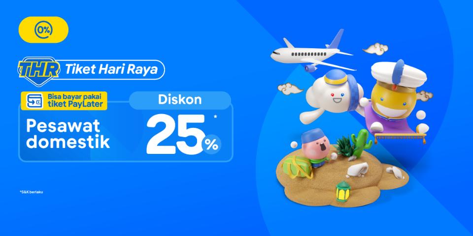 Promo tiket pesawat rute domestik diskon hingga 25 persen.