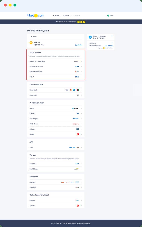 Pembayaran Dengan Virtual Aaccount Mandiri Tiket Com
