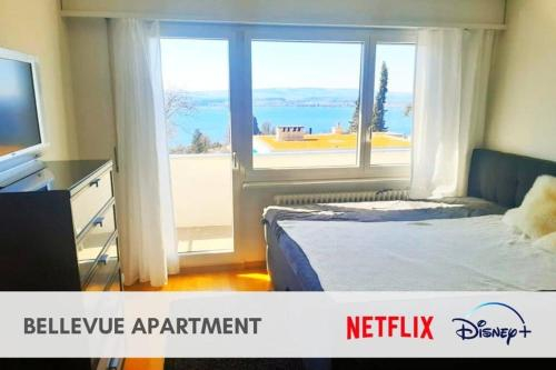 Bellevue Room with 2x2m bed and lake view in shared apartment, Zug
