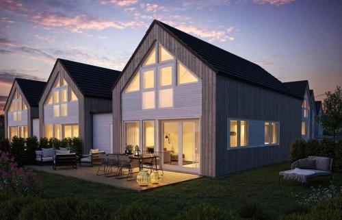 Moderne hytte rett ved sjøen, familievennlig beliggenhet i Aros, Søgne